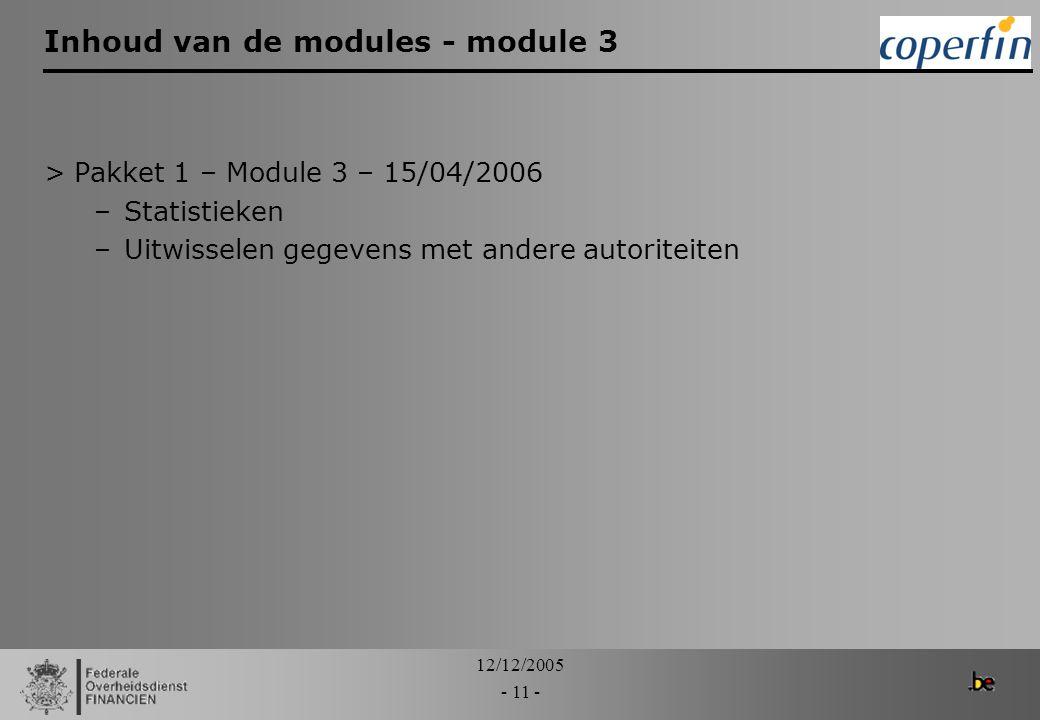 Inhoud van de modules - module 3