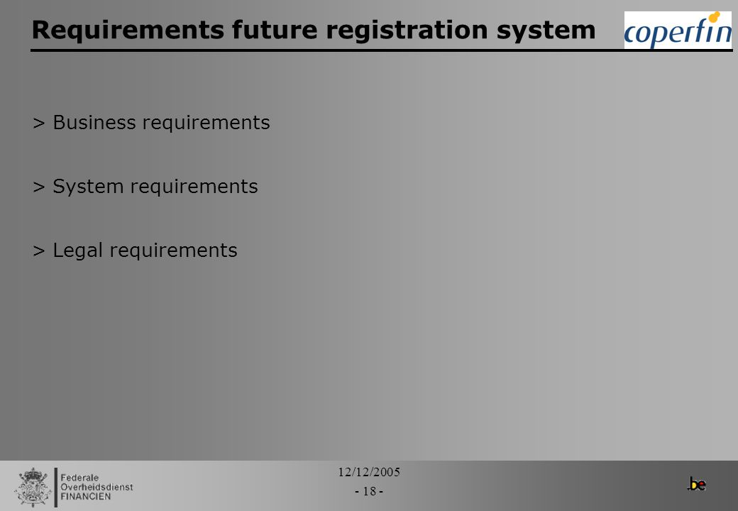Requirements future registration system