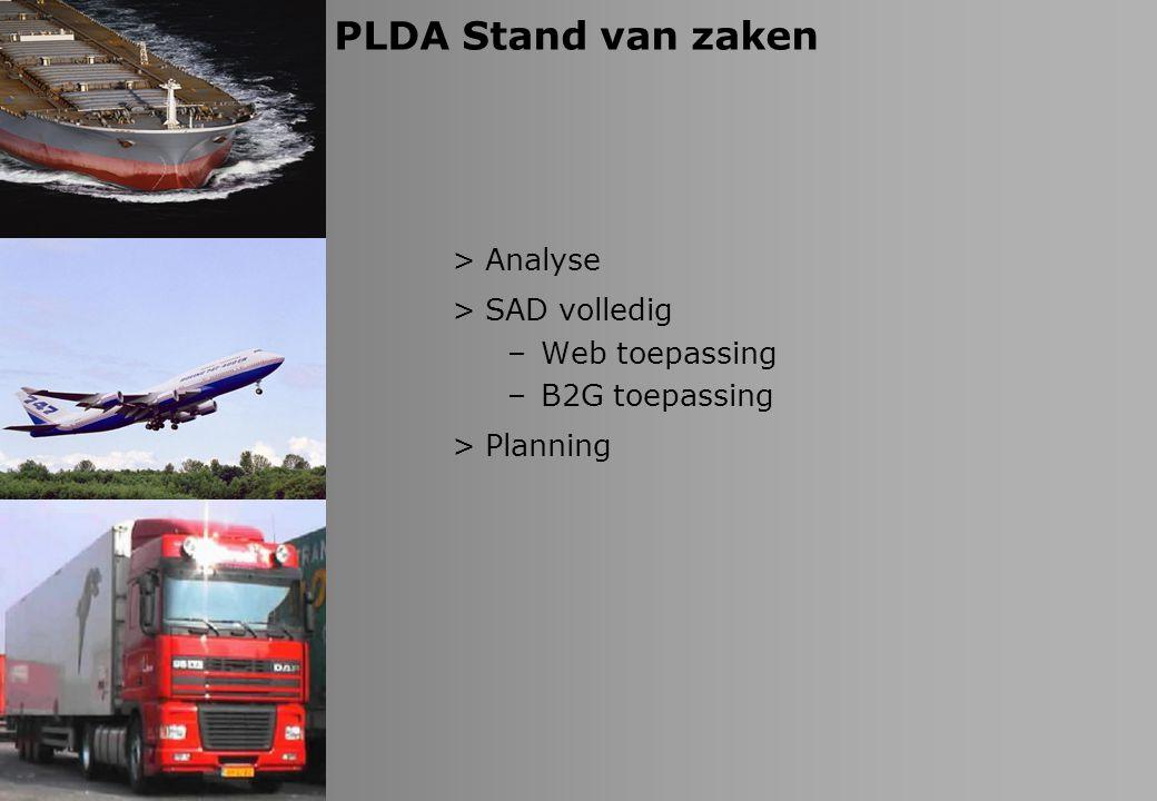 PLDA Stand van zaken Analyse SAD volledig Web toepassing