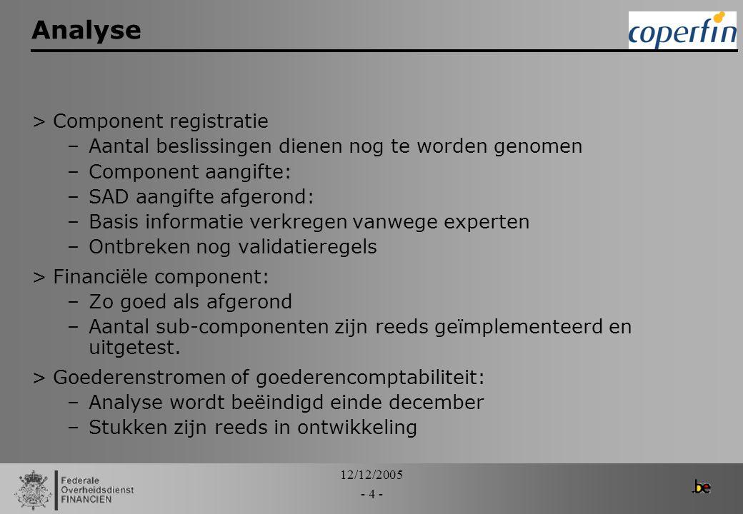 Analyse Component registratie
