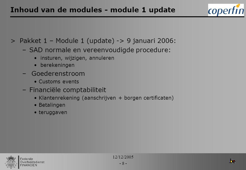 Inhoud van de modules - module 1 update