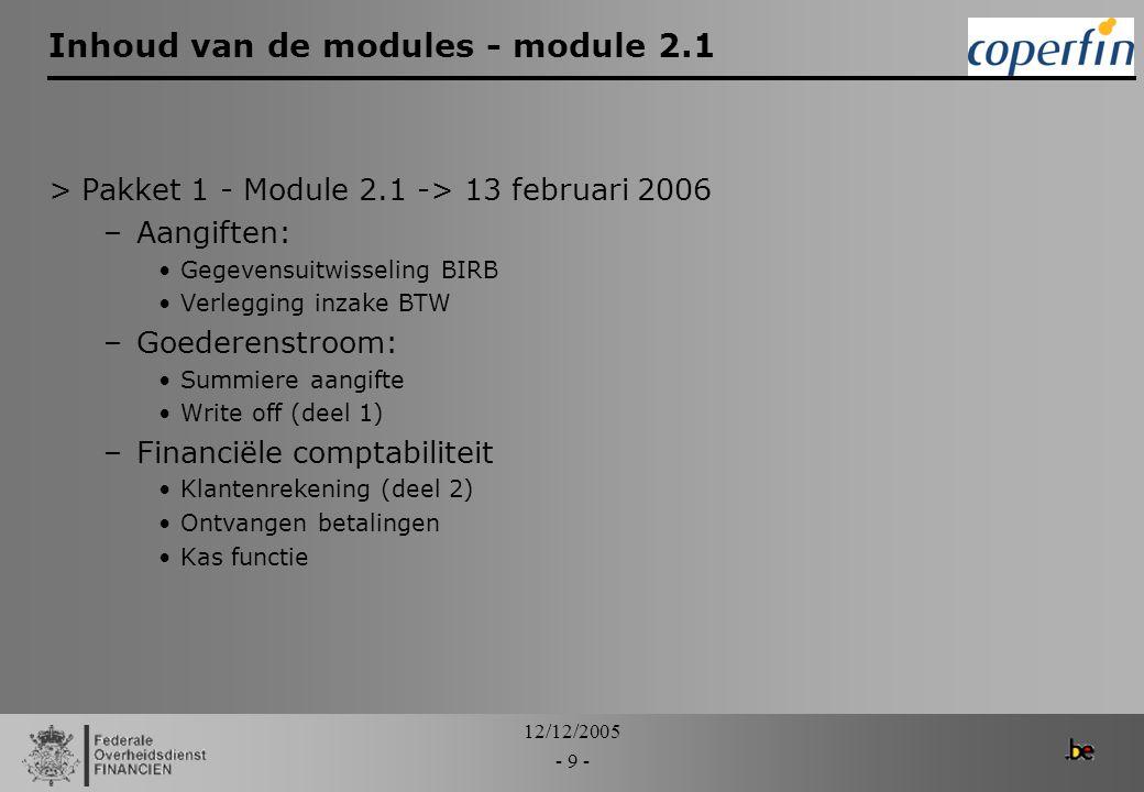 Inhoud van de modules - module 2.1