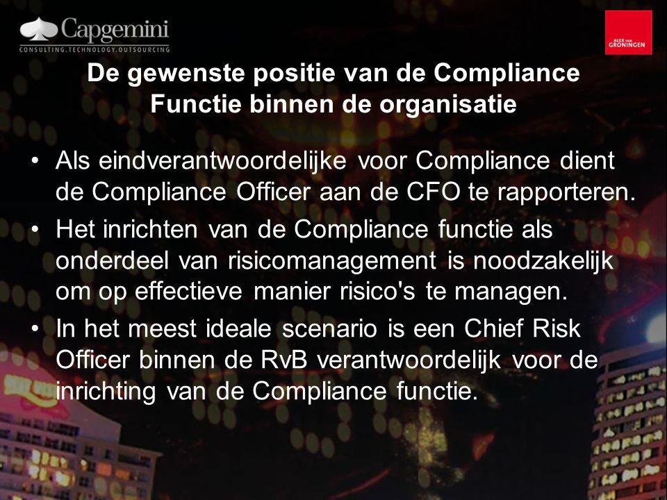De gewenste positie van de Compliance Functie binnen de organisatie