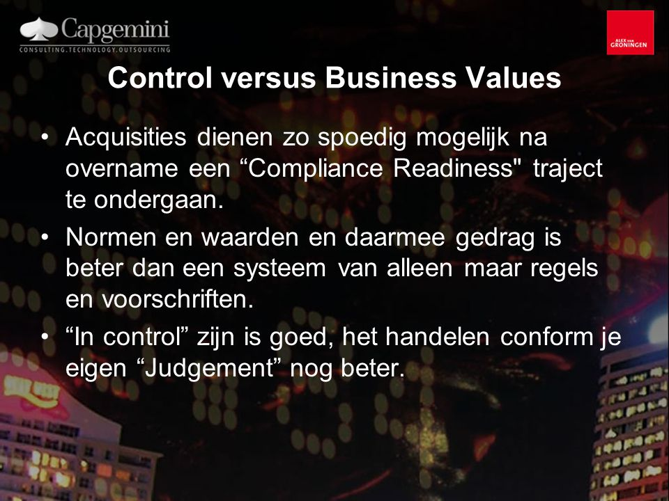 Control versus Business Values