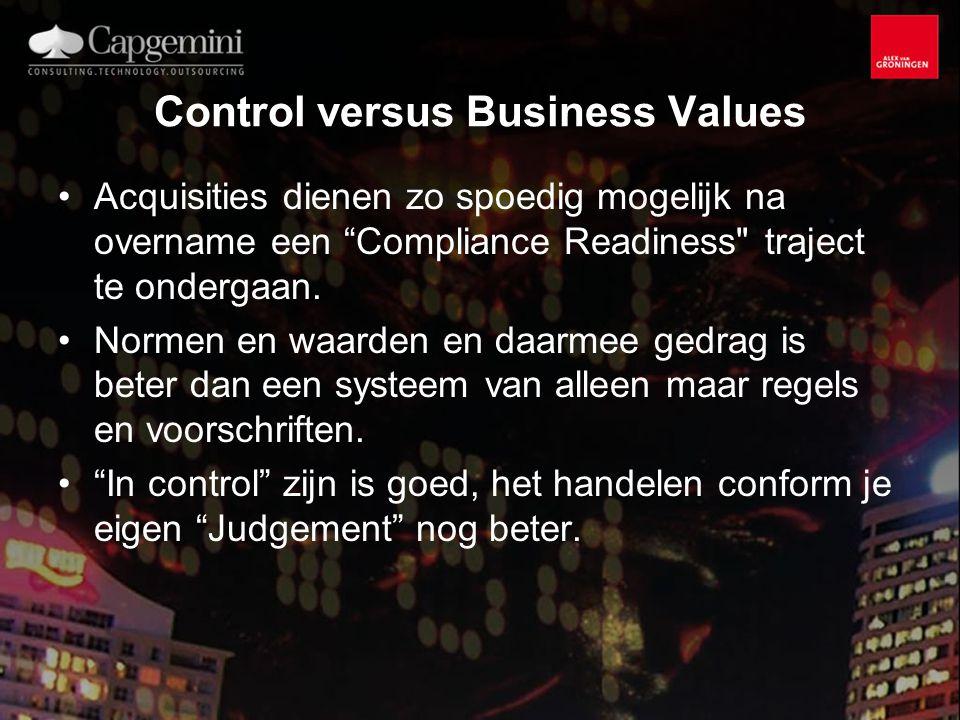 Control versus Business Values