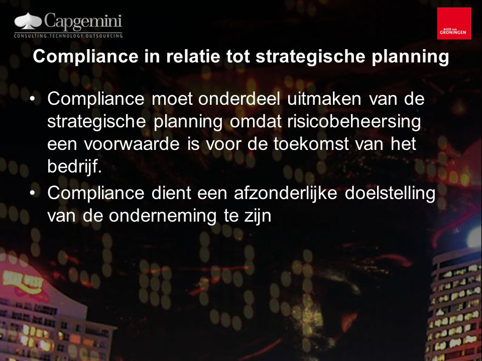 Compliance in relatie tot strategische planning
