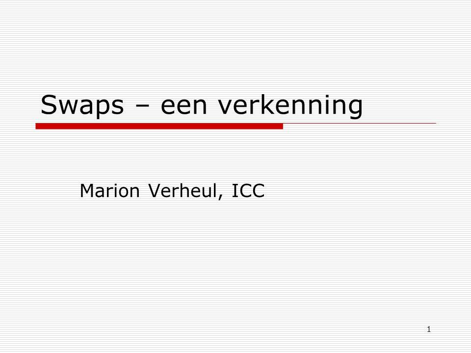 Swaps – een verkenning Marion Verheul, ICC