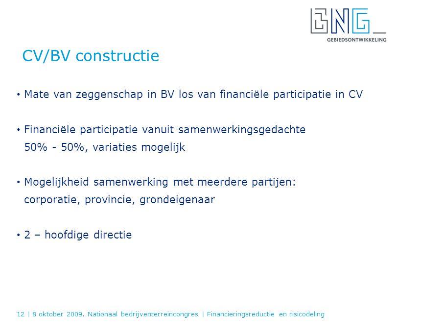 CV/BV constructie Mate van zeggenschap in BV los van financiële participatie in CV. Financiële participatie vanuit samenwerkingsgedachte.