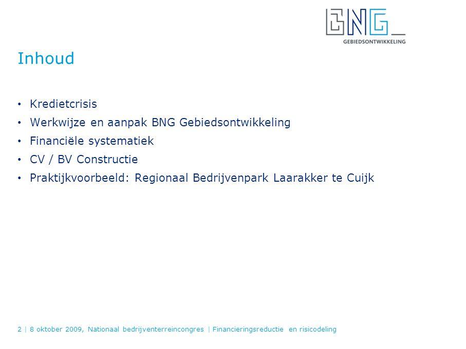 Inhoud Kredietcrisis Werkwijze en aanpak BNG Gebiedsontwikkeling
