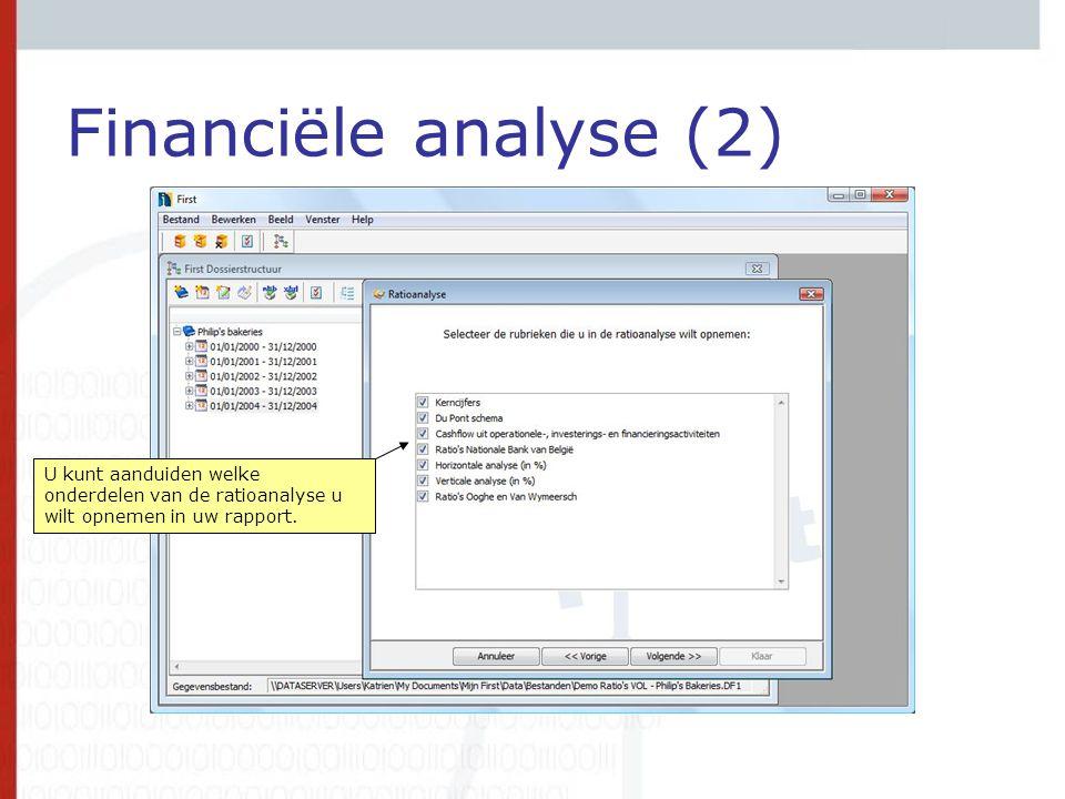 Financiële analyse (2) U kunt aanduiden welke onderdelen van de ratioanalyse u wilt opnemen in uw rapport.