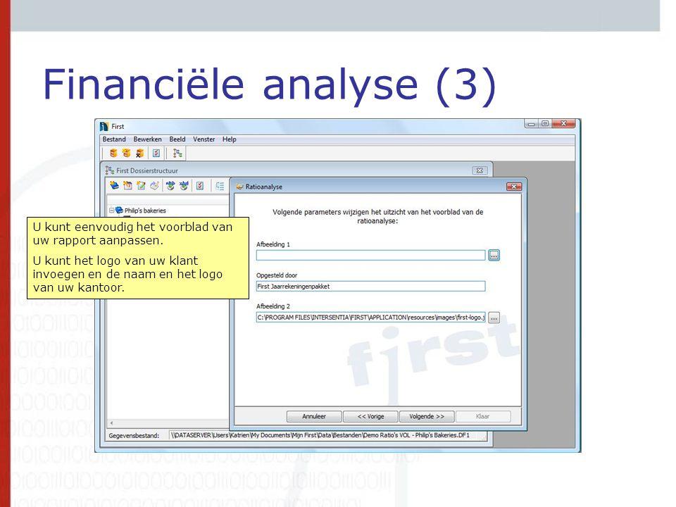 Financiële analyse (3) U kunt eenvoudig het voorblad van uw rapport aanpassen.