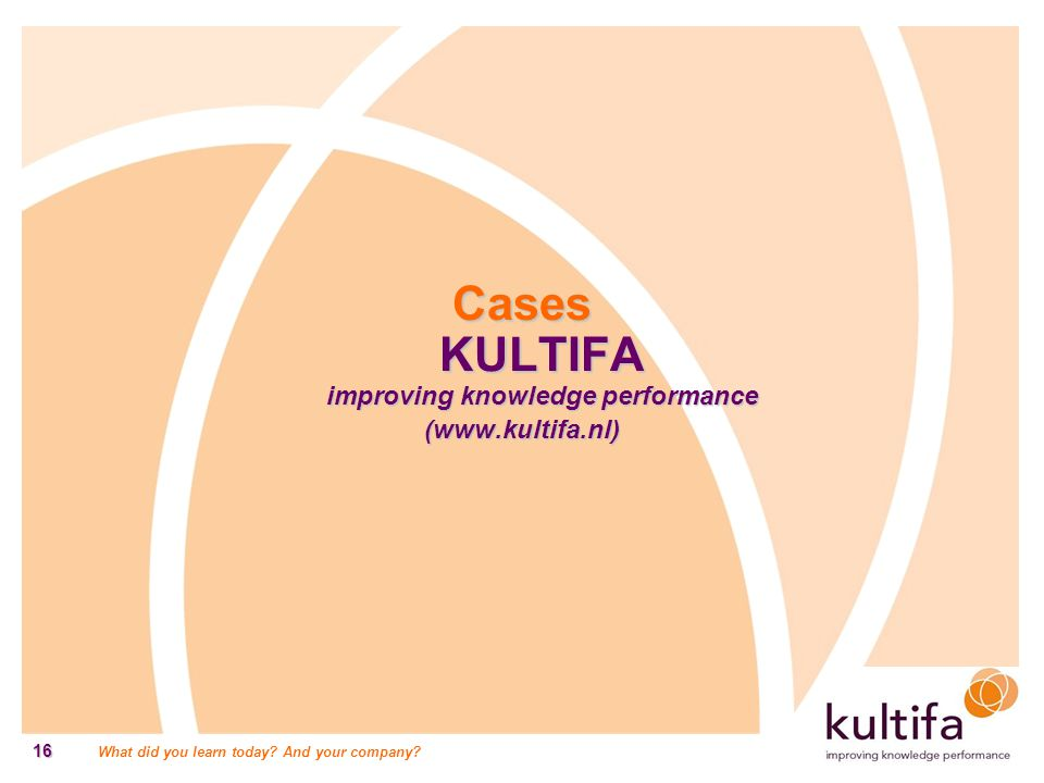 Cases KULTIFA improving knowledge performance