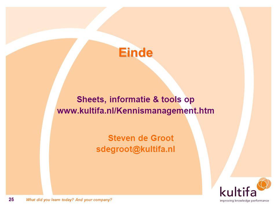 Einde Sheets, informatie & tools op