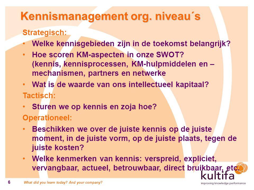 Kennismanagement org. niveau´s