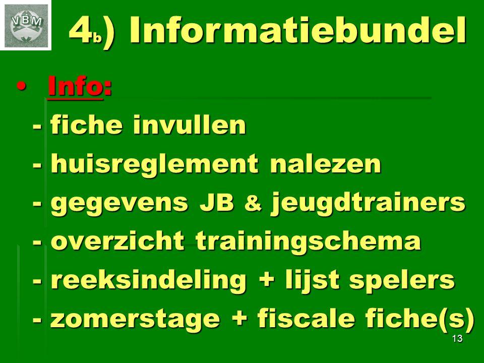 4b) Informatiebundel Info: - fiche invullen - huisreglement nalezen