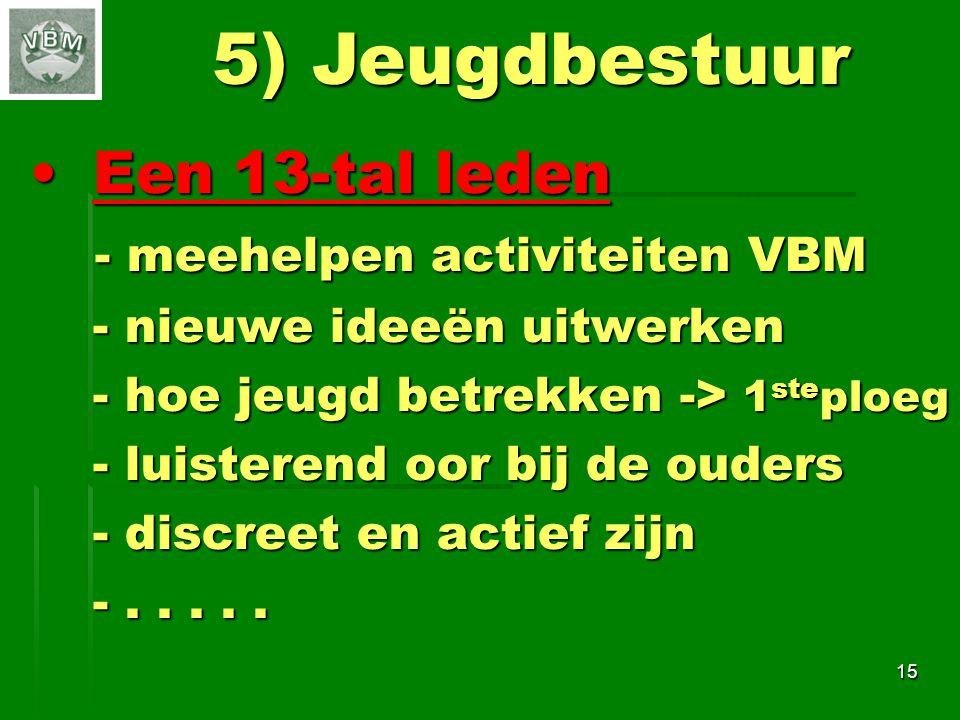 5) Jeugdbestuur Een 13-tal leden - meehelpen activiteiten VBM