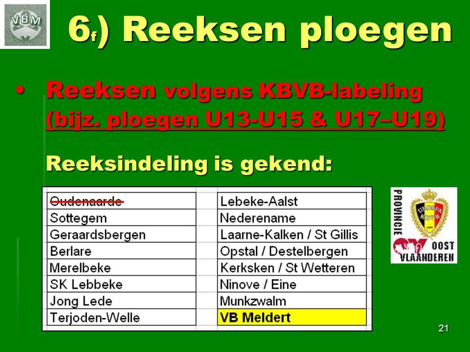 6f) Reeksen ploegen Reeksen volgens KBVB-labeling