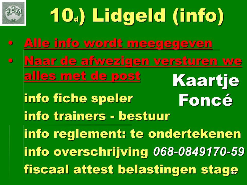 10d) Lidgeld (info) Kaartje Foncé Alle info wordt meegegeven