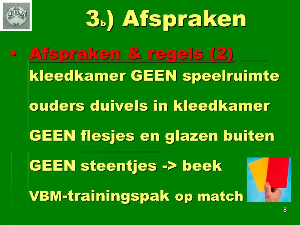 3b) Afspraken Afspraken & regels (2) kleedkamer GEEN speelruimte