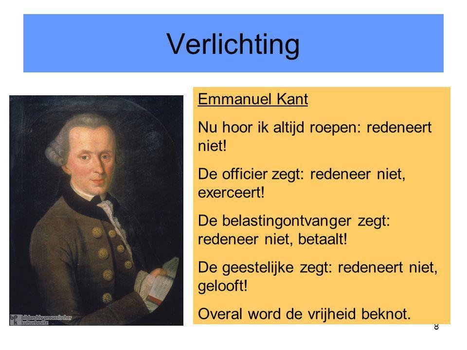 Verlichting Emmanuel Kant Nu hoor ik altijd roepen: redeneert niet!
