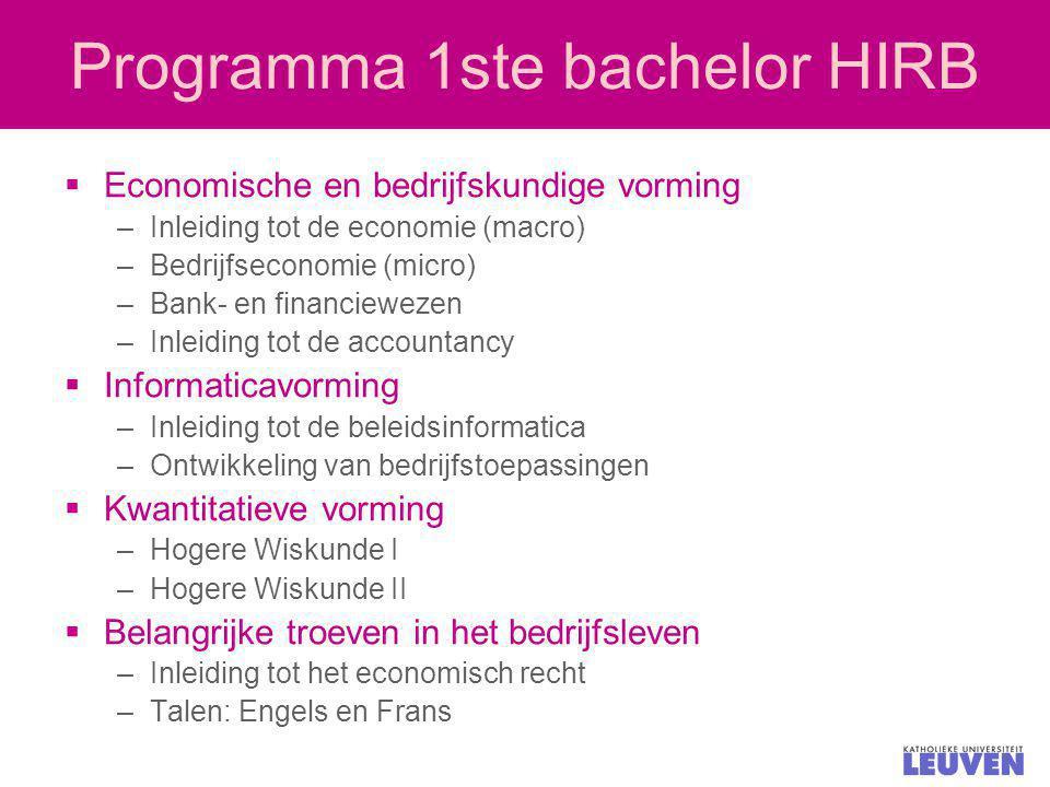 Programma 1ste bachelor HIRB
