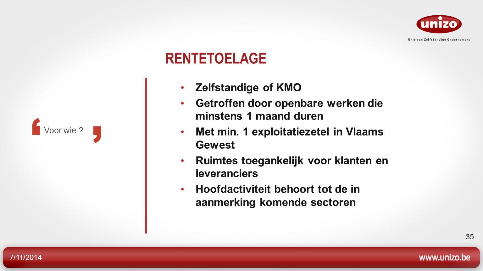 RENTETOELAGE Zelfstandige of KMO