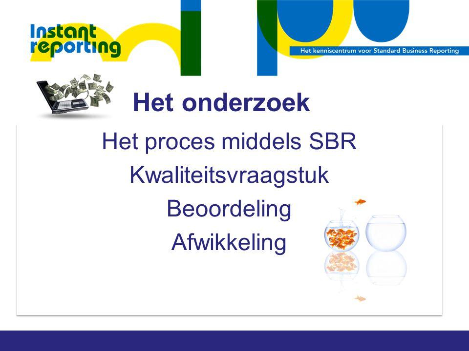 Het onderzoek Het proces middels SBR Kwaliteitsvraagstuk Beoordeling