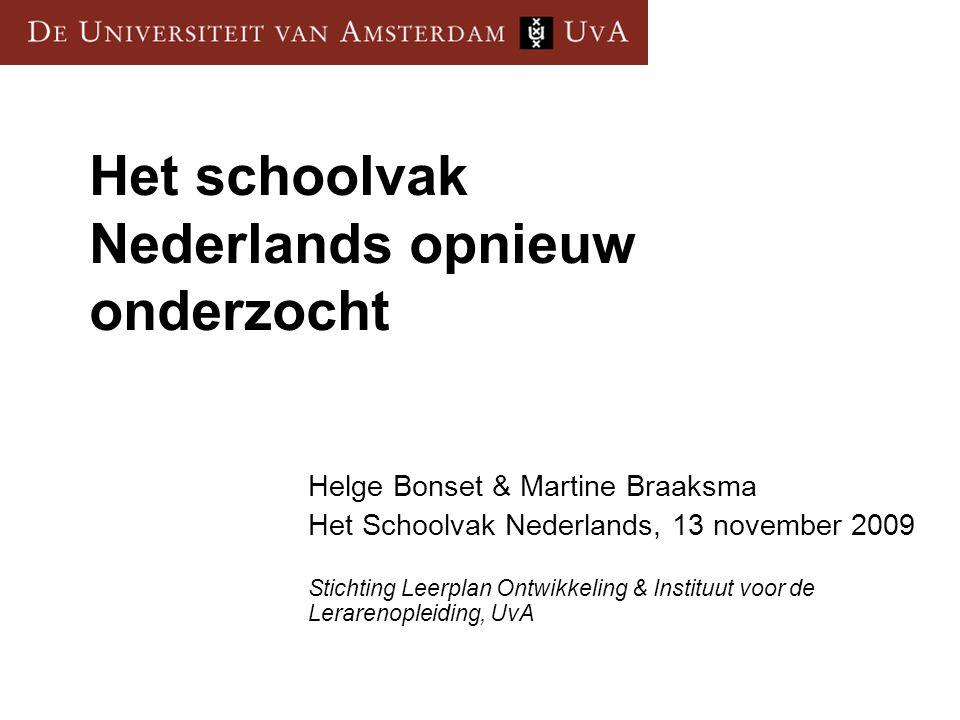 Het schoolvak Nederlands opnieuw onderzocht
