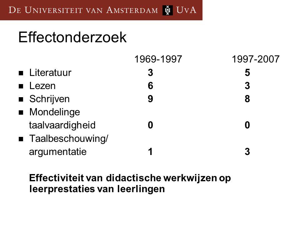 Effectonderzoek 1969-1997 1997-2007 Literatuur 3 5 Lezen 6 3