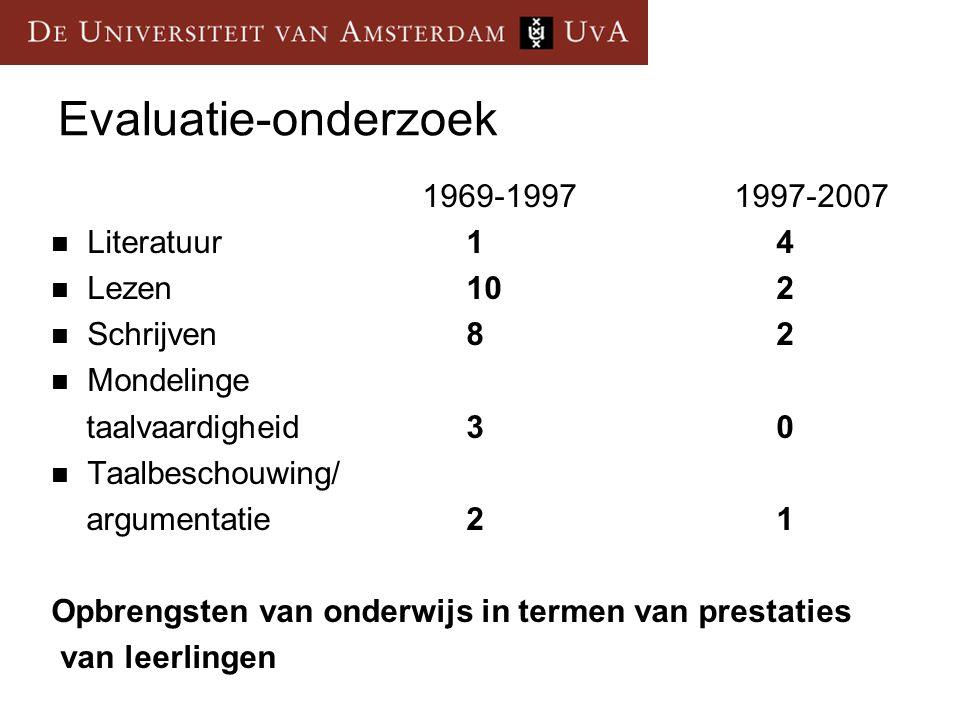 Evaluatie-onderzoek 1969-1997 1997-2007 Literatuur 1 4 Lezen 10 2