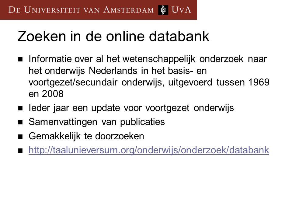 Zoeken in de online databank