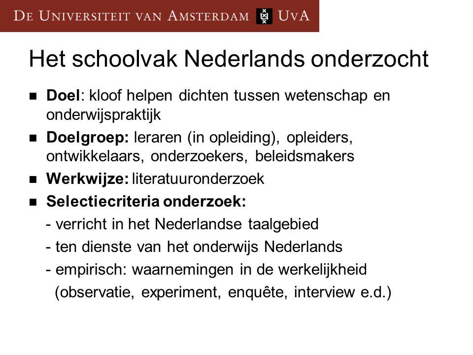 Het schoolvak Nederlands onderzocht