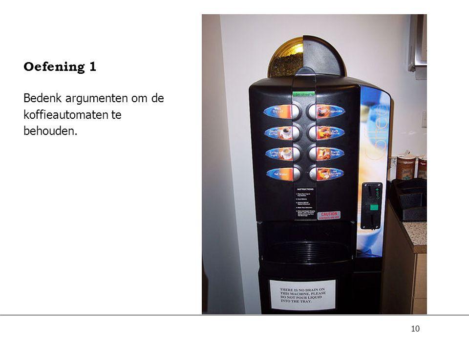 Oefening 1 Bedenk argumenten om de koffieautomaten te behouden.