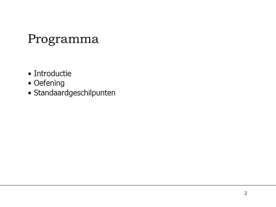 Programma Introductie Oefening Standaardgeschilpunten