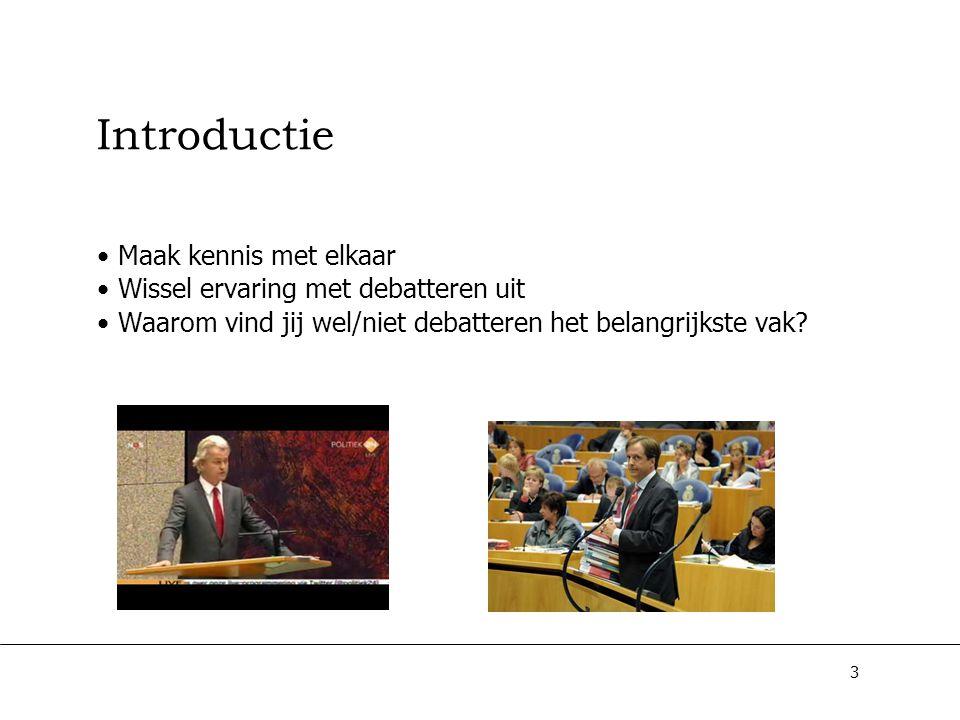Introductie Maak kennis met elkaar Wissel ervaring met debatteren uit