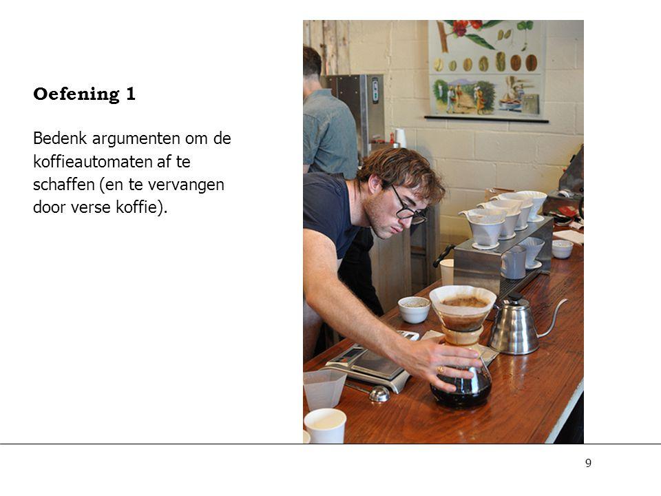Oefening 1 Bedenk argumenten om de koffieautomaten af te schaffen (en te vervangen door verse koffie).
