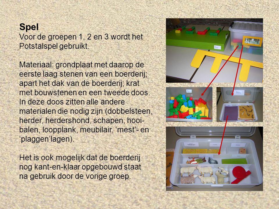 Spel Voor de groepen 1, 2 en 3 wordt het Potstalspel gebruikt.
