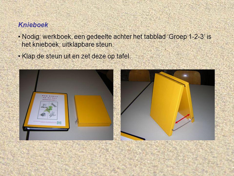 Knieboek Nodig: werkboek, een gedeelte achter het tabblad 'Groep 1-2-3' is het knieboek; uitklapbare steun.
