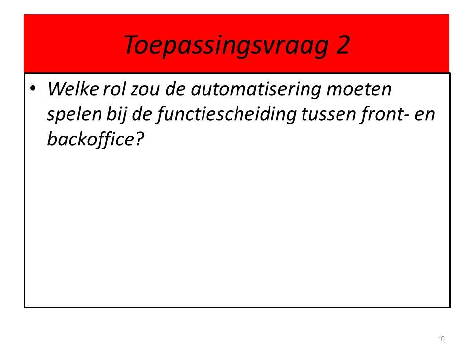 Toepassingsvraag 2 Welke rol zou de automatisering moeten spelen bij de functiescheiding tussen front- en backoffice