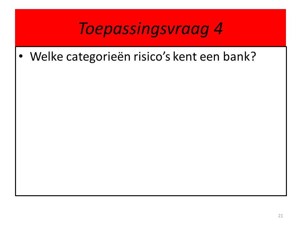 Toepassingsvraag 4 Welke categorieën risico's kent een bank