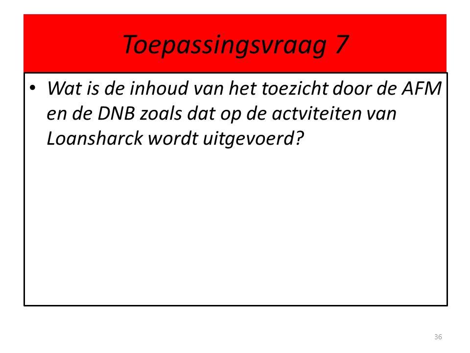 Toepassingsvraag 7 Wat is de inhoud van het toezicht door de AFM en de DNB zoals dat op de actviteiten van Loansharck wordt uitgevoerd