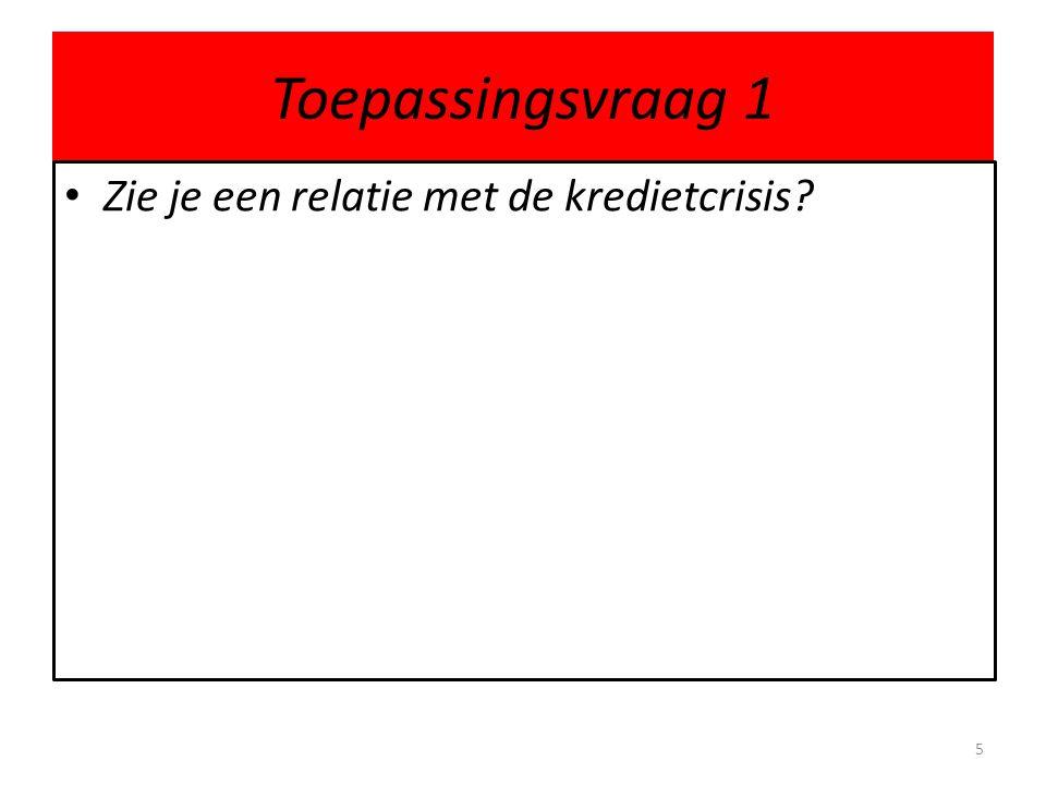 Toepassingsvraag 1 Zie je een relatie met de kredietcrisis