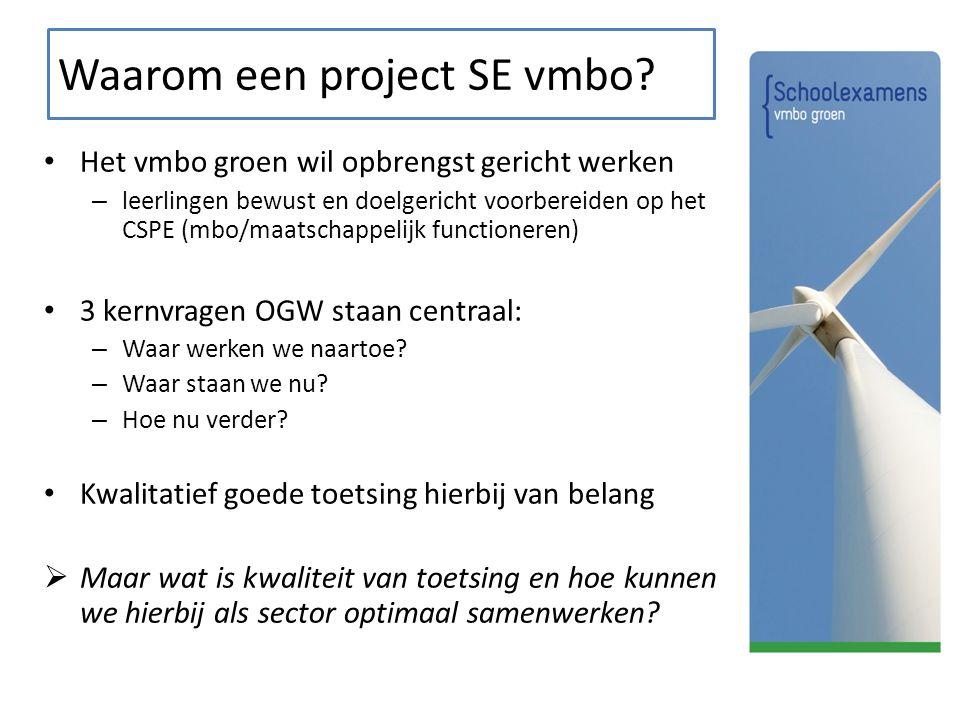Waarom een project SE vmbo
