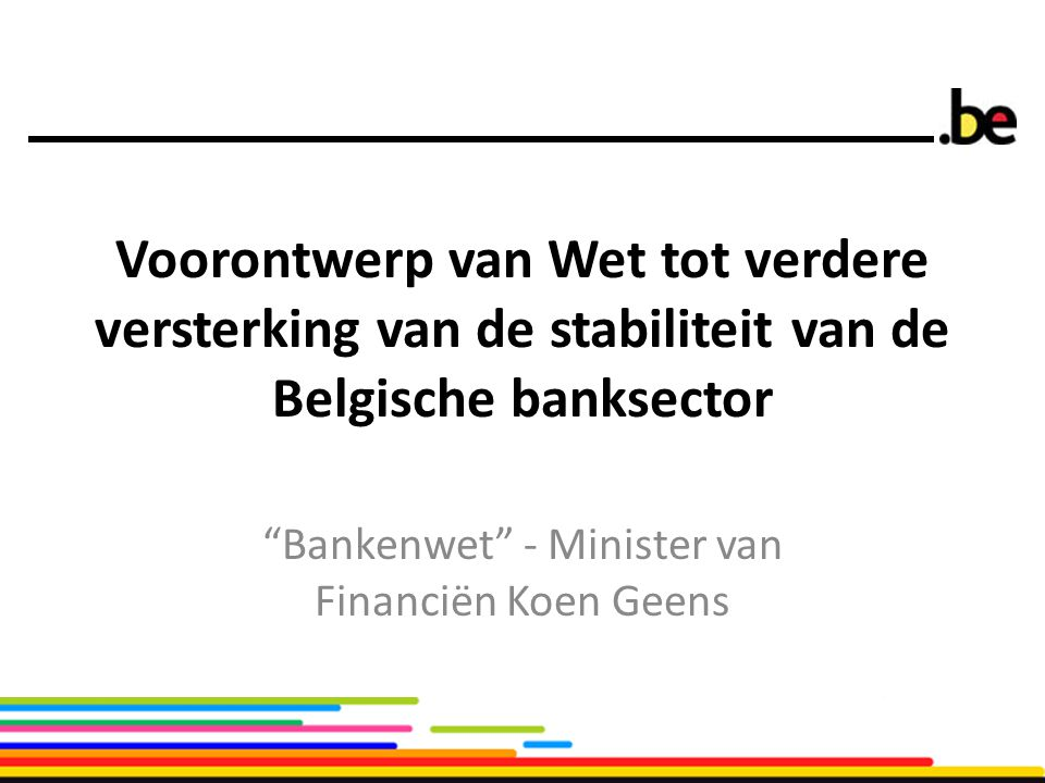 Bankenwet - Minister van Financiën Koen Geens