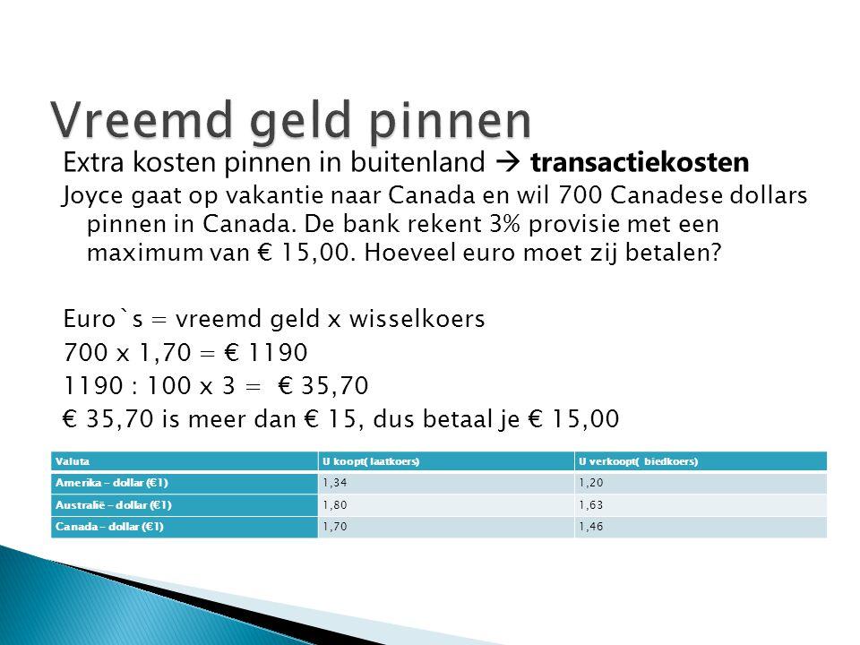 Vreemd geld pinnen Extra kosten pinnen in buitenland  transactiekosten.
