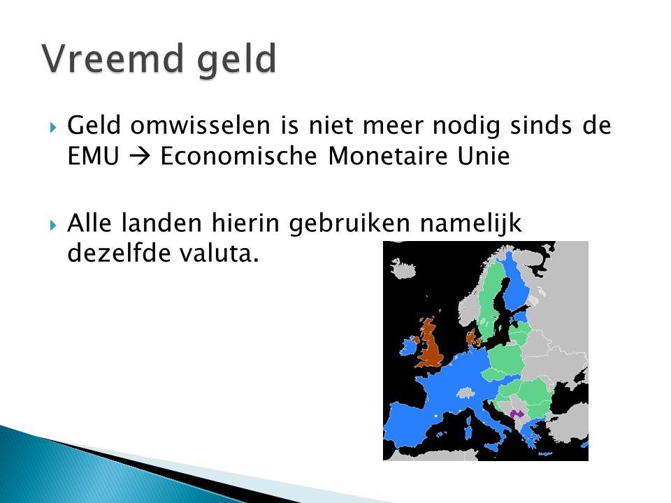 Vreemd geld Geld omwisselen is niet meer nodig sinds de EMU  Economische Monetaire Unie.
