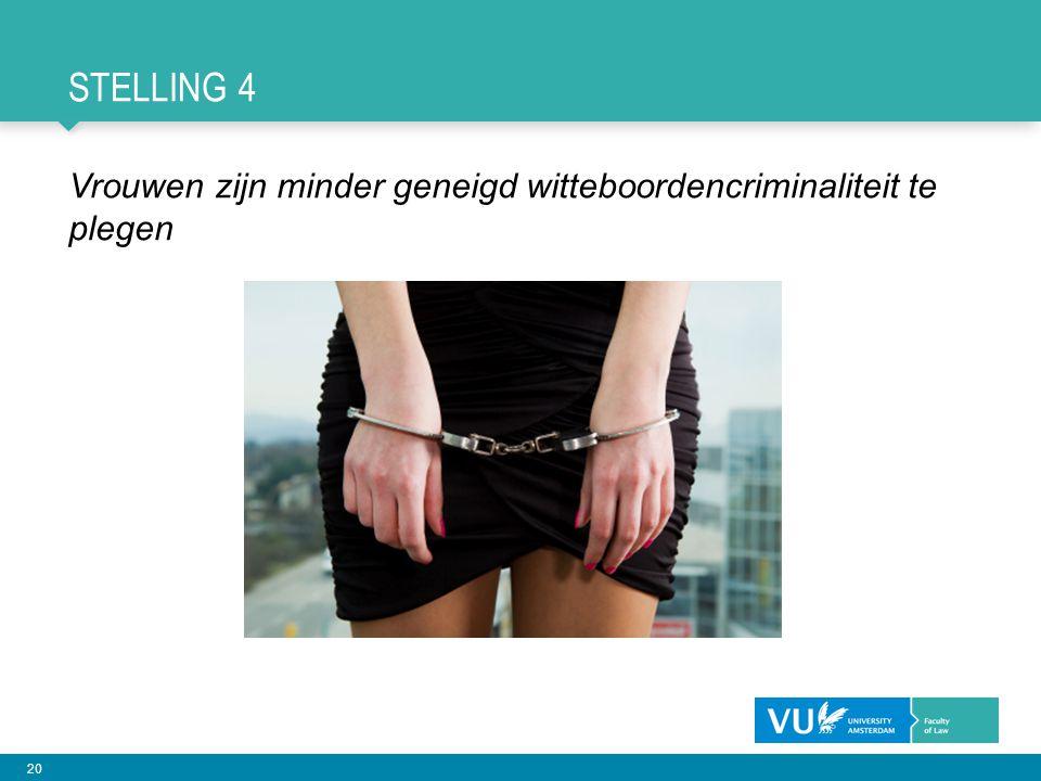 Stelling 4 Vrouwen zijn minder geneigd witteboordencriminaliteit te plegen
