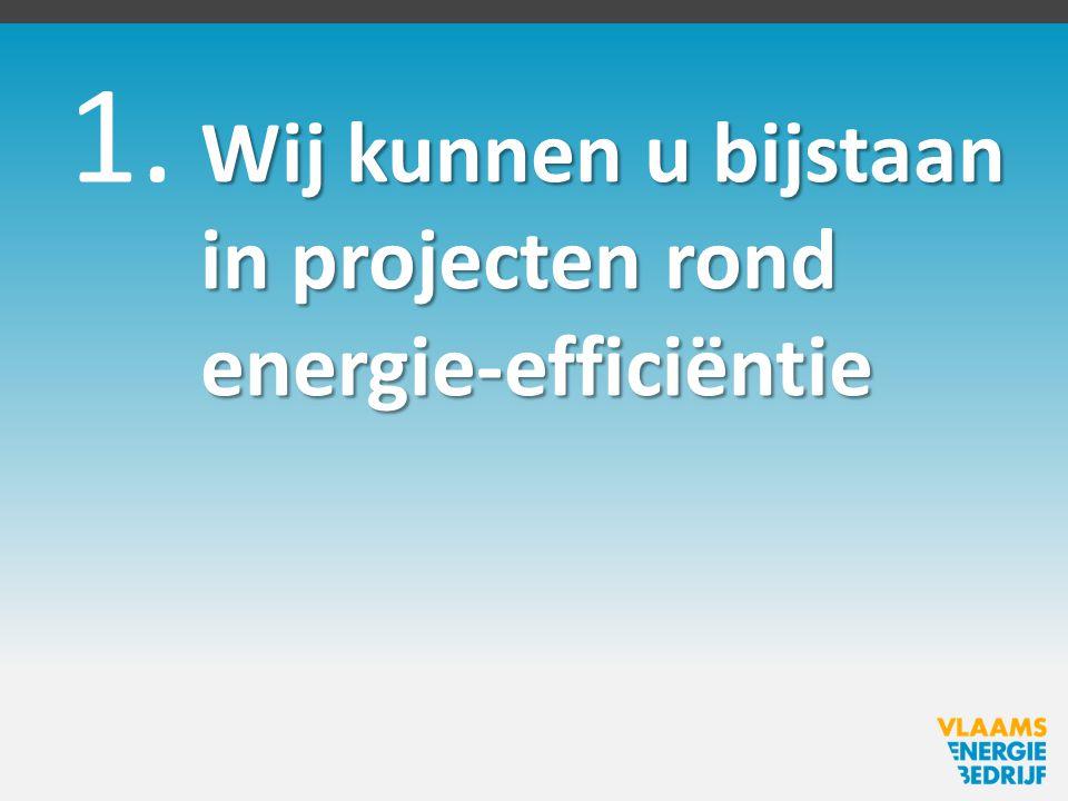 1. Wij kunnen u bijstaan in projecten rond energie-efficiëntie