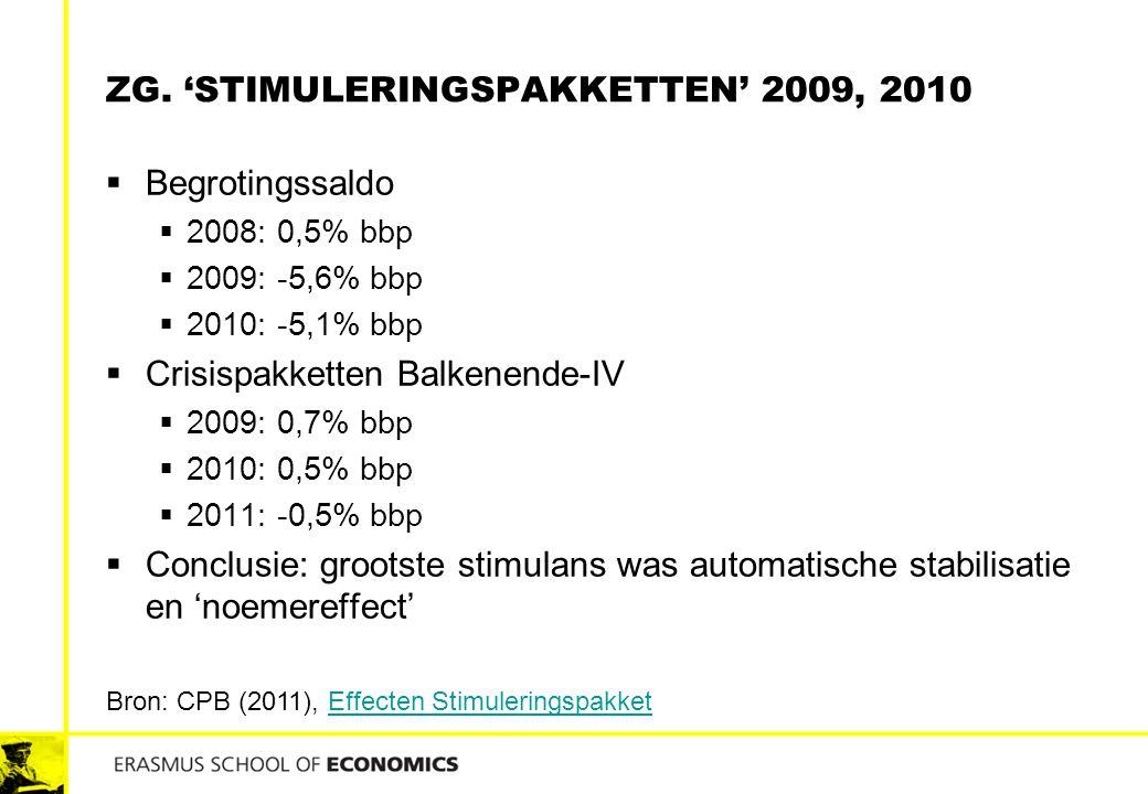 Zg. 'stimuleringspakketten' 2009, 2010
