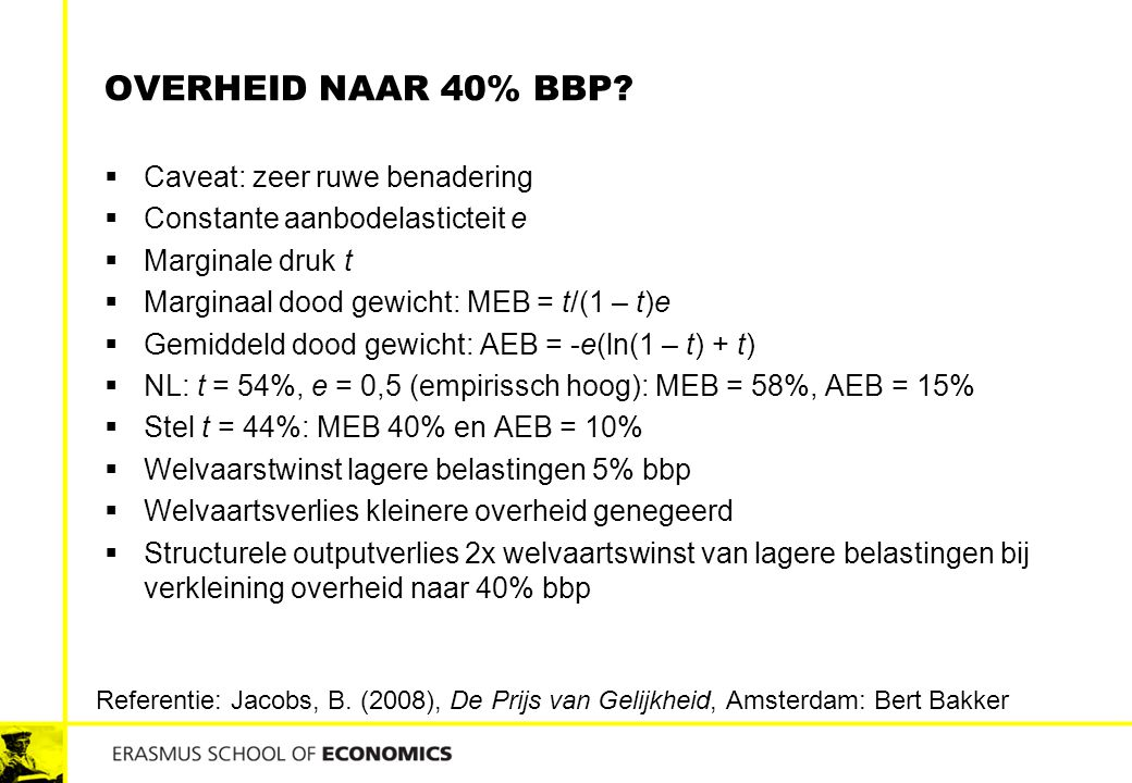 overheid naar 40% bbp Caveat: zeer ruwe benadering